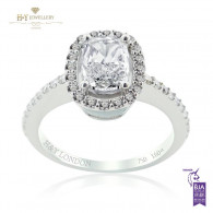 White Gold Cushion And Round Cut Engagement Ring E , VS2