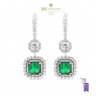 White Gold Emerald cut Emerald  and Brilliant Cut Diamond Earrings - 6.11 ct