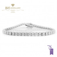 White Gold Brilliant Cut Tennis Bracelet - ref 6.15 ct