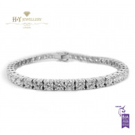 White Gold Brilliant Cut Tennis Bracelet - ref 10.92 ct