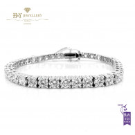 White Gold Brilliant Cut Tennis Bracelet - ref 10.39 ct