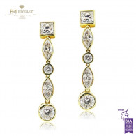Yellow Gold Mixed Diamond Earrings - 7.00 ct