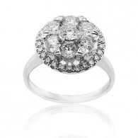 White Gold Halo Engagement Ring With Brilliant Cut Diamonds