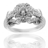 White Gold  Detailed Engagement Ring With Brilliant Cut Diamonds