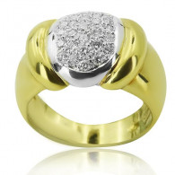 Yellow Gold Chunky Ring With Brilliant Cut Diamonds