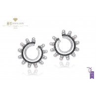 Ananya Balance C-Clip Earrings set with Pearls and Diamonds