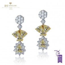 White Gold Flower Earrings With Yellow Diamonds F, VS