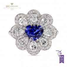 Burma Heart Sapphire and Diamond Ring VS-SI , G-H