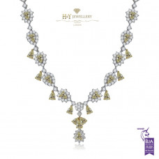 White Gold Flower Necklace With Yellow Diamonds F , VS