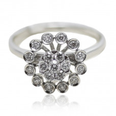 White Gold Floral pattern Diamond Enagagement Ring
